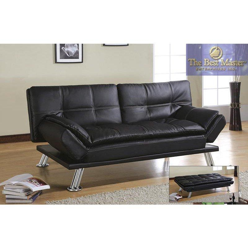 H250 Adjustable Futon Sofa Bed In Black Faux Leatherbest With Regard To Faux Leather Futon Sofas (Image 20 of 20)