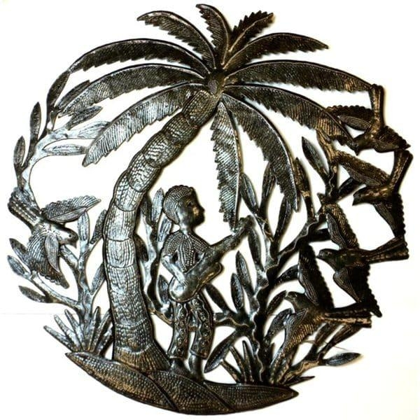 Haitian Metal Art 'guitar Player Under A Palm Tree' Wall Art Inside Palm Tree Metal Art (View 12 of 20)