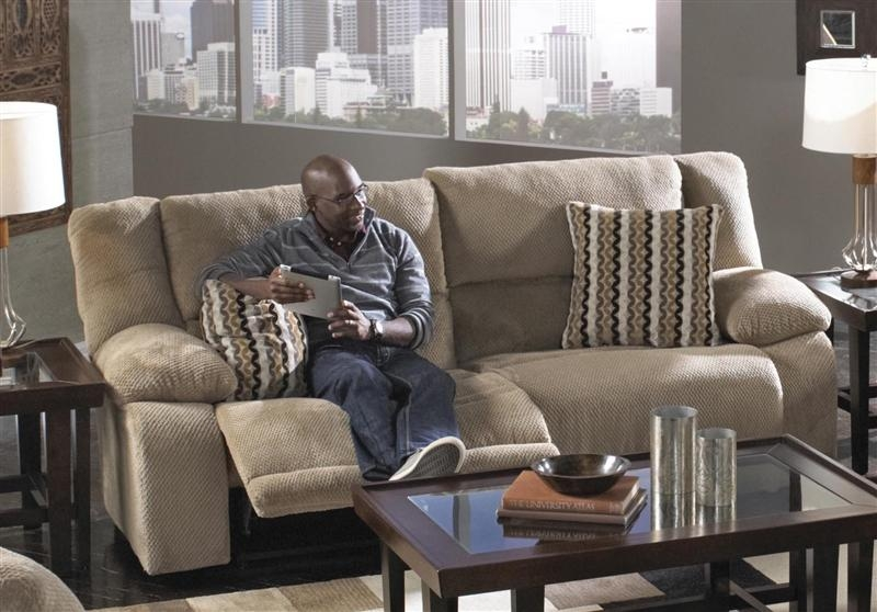 Hammond Reclining Sofa In Mocha, Coffee, Or Granite Fabric Intended For Catnapper Sofas (View 2 of 20)