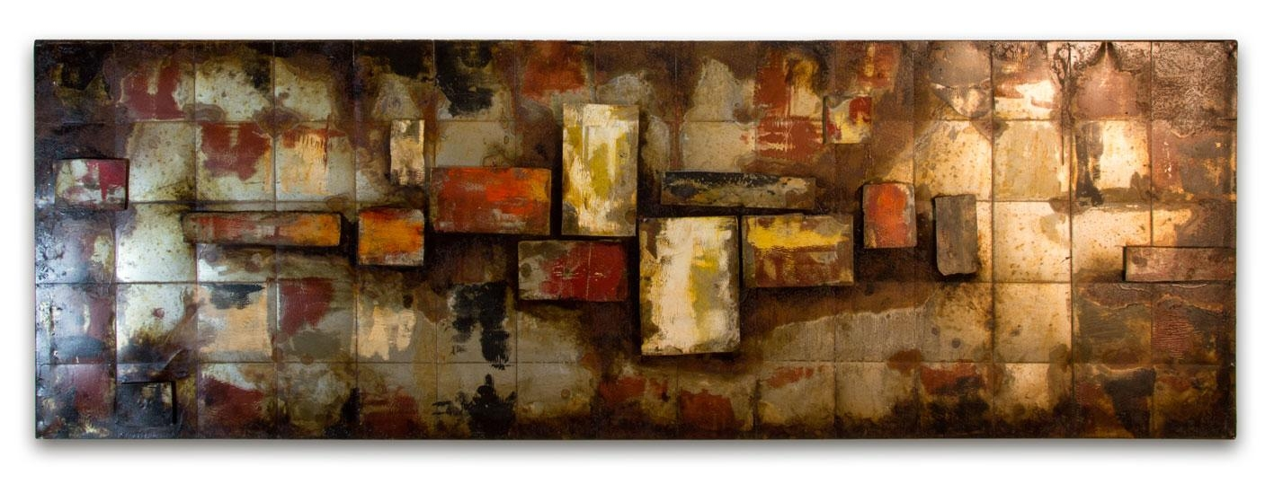 Hand Crafted 'abstract Squares' Metal Wall Art Panel For Uk Contemporary Wall Art (View 10 of 20)
