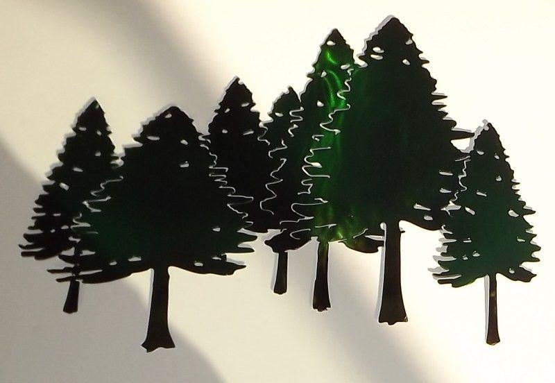 Hand Crafted Pine Tree Forest Free Form Metal Wall Art Sculpture Pertaining To Pine Tree Metal Wall Art (View 4 of 20)