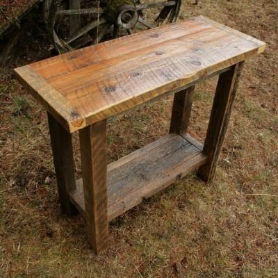Hand Crafted Reclaimed Barnwood Sofa Tableecho Peak Design Within Barnwood Sofa Tables (Image 14 of 20)