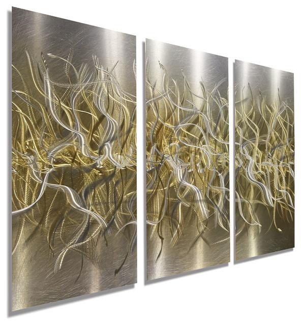 Hand Etched Silver And Gold Modern Metal Wall Art, Home Decor Regarding Silver And Gold Wall Art (Image 17 of 20)