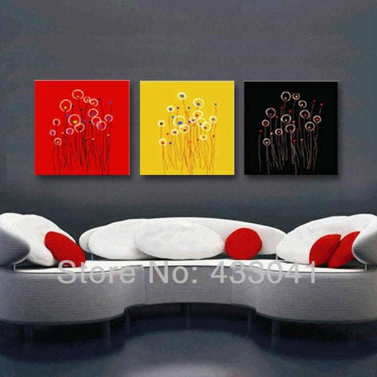 Hand Painted 3 Piece Canvas Art Blossom Sunflower Oil Painting Within Red And Yellow Wall Art (View 14 of 20)