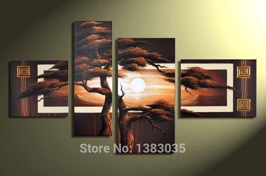 Hand Painted 4 Piece Pine Tree Canvas Art Sunset Landscape Oil Within 4 Piece Wall Art Sets (Image 10 of 20)