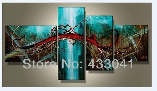 Hand Painted 4 Piece Sets Modern Abstract Large Wall Art Blue With Regard To 4 Piece Wall Art Sets (Image 11 of 20)