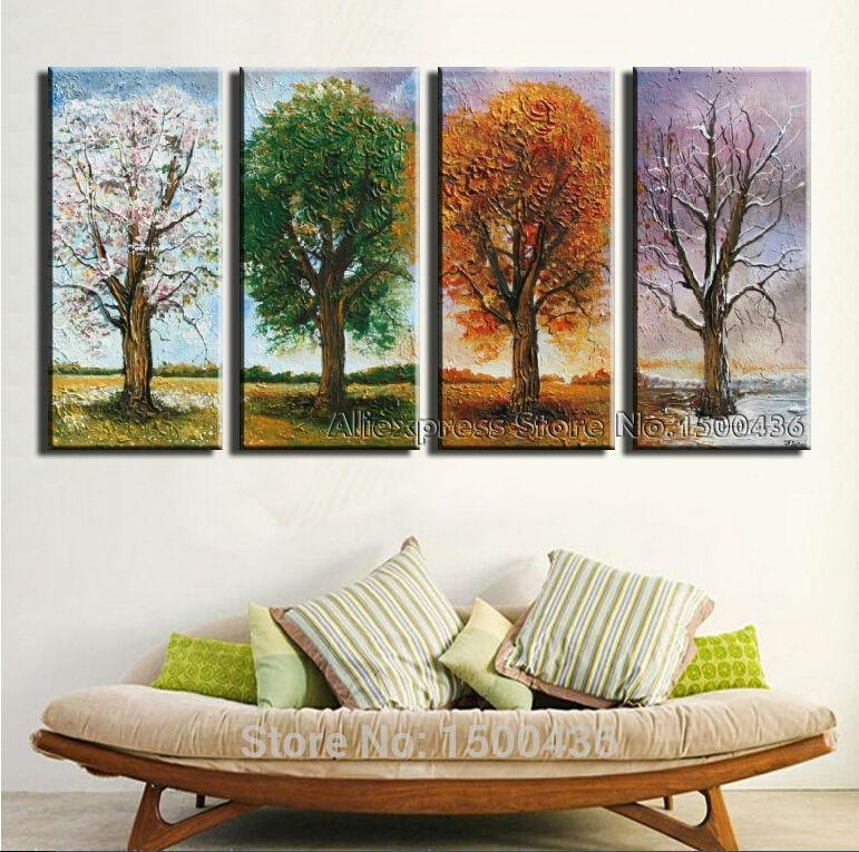 Hand Painted 4 Season Tree Oil Painting Canvas Set 4 Piece Modern Within 4 Piece Wall Art Sets (Image 12 of 20)