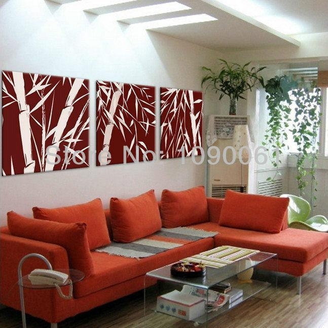 Hand Painted Abstract Bamboo For Decorating Oil Paintings Modern Within Burgundy Wall Art (Image 16 of 20)
