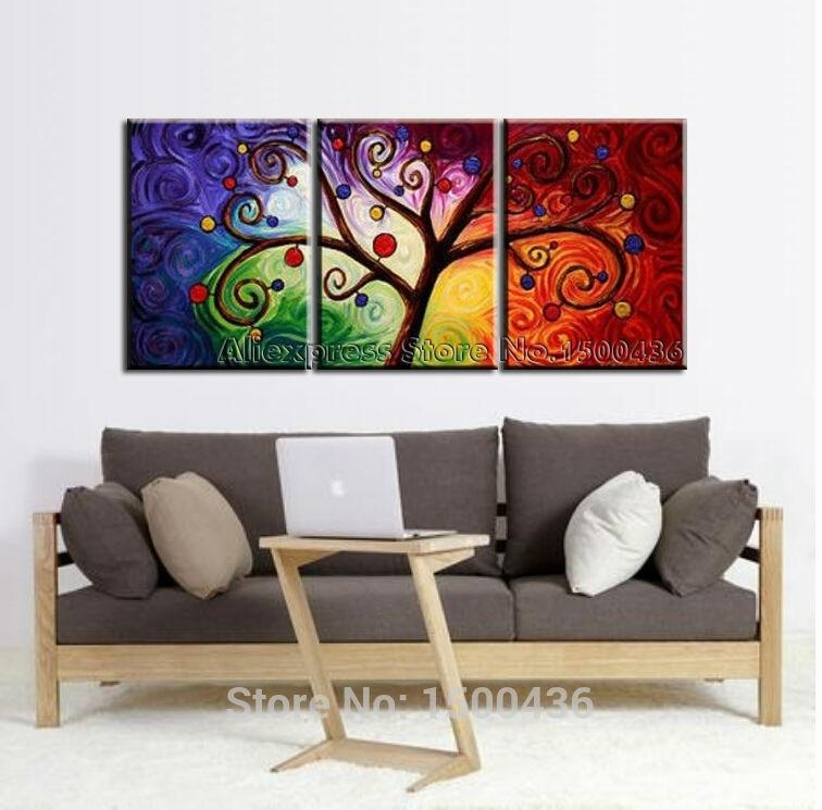 Hand Painted Abstract Gustav Klimt Canvas Painting Tree 5 Piece In 3 Pc Canvas Wall Art Sets (Image 12 of 20)