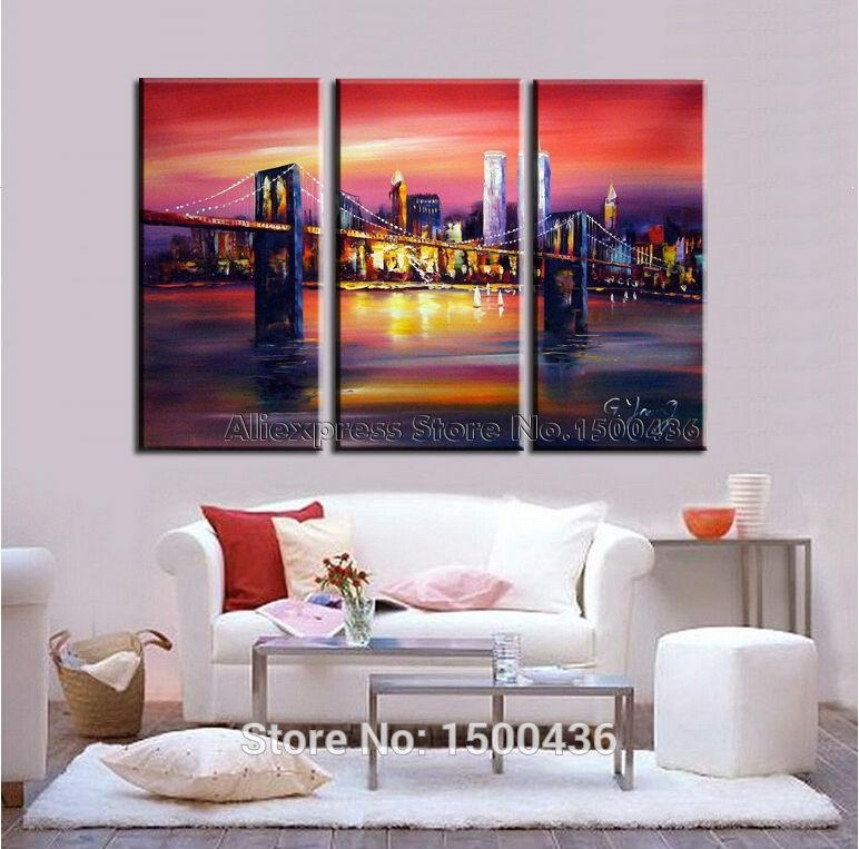 Hand Painted Abstract New York Cityscape Canvas Oil Paintings For With Regard To 3 Piece Modern Wall Art (Image 12 of 20)