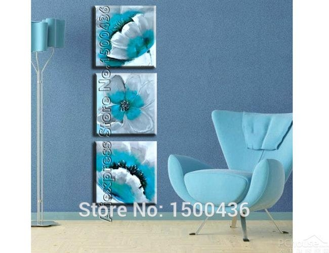 Hand Painted Abstract Orange Flowers Canvas Painting Oil Modern 5 Throughout Teal Flower Canvas Wall Art (Image 12 of 20)