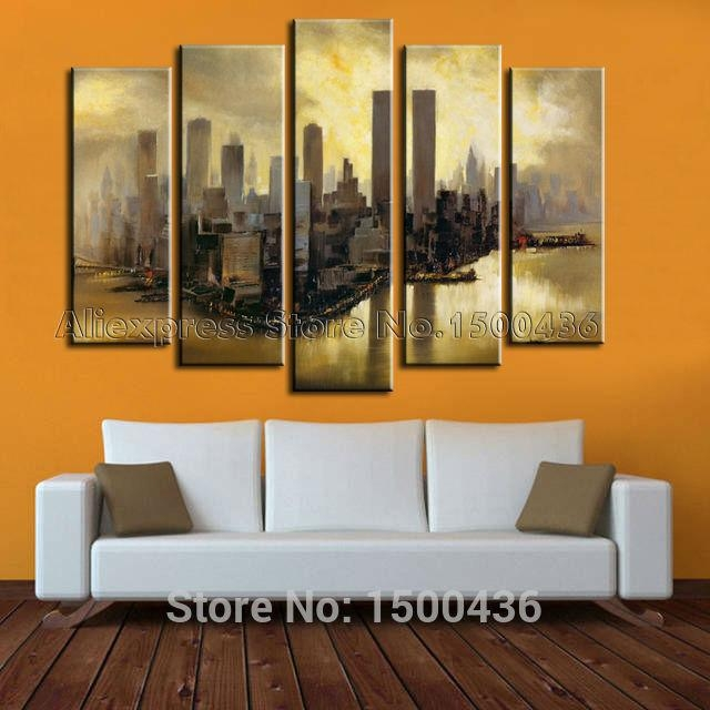 Hand Painted Autumn Fall Oil Canvas Tree Painting Wall Art Decor Pertaining To 4 Piece Wall Art Sets (Image 13 of 20)