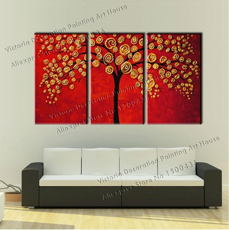 Hand Painted Autumn Fall Oil Canvas Tree Painting Wall Art Decor Pertaining To Canvas Wall Art Sets Of (View 8 of 20)