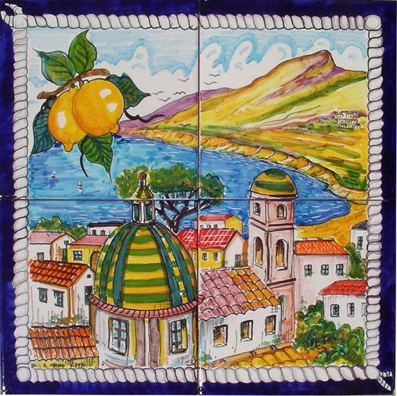 Hand Painted Italian Ceramic Tiles – Positano Rope Frame Regarding Italian Ceramic Wall Art (View 14 of 20)