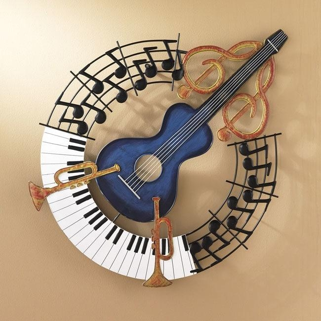 Hand Painted Jazz Guitar Metal Wall Art – Free Shipping Today Within Guitar Metal Wall Art (Image 8 of 20)