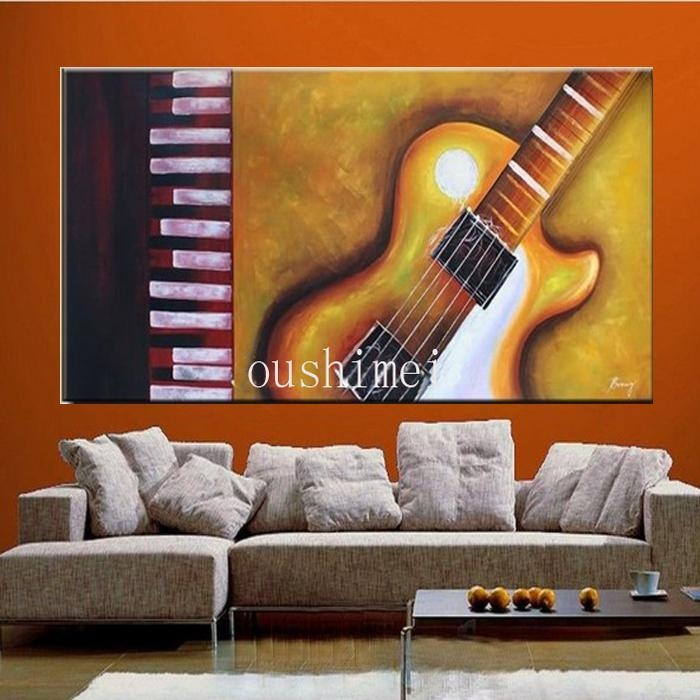Hand Painted Large Abstract Guitar Paintings Wall Art Home With Guitar Canvas Wall Art (View 13 of 20)
