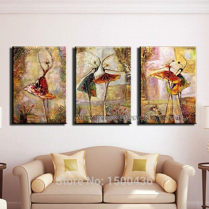 Hand Painted Modern 2 Pieces Wall Art Canvas Painting Dance Intended For Canvas Wall Art Sets Of (View 14 of 20)