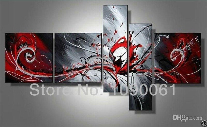 Hand Painted Modern Abstract Black White And Red Paintings Wall Within Black And White Wall Art With Red (Image 15 of 20)