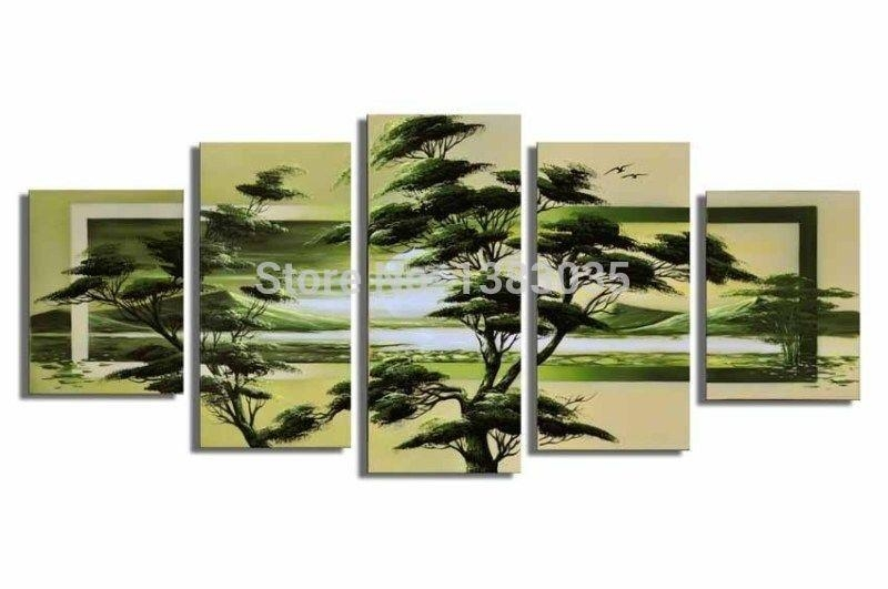 Hand Painted Modern Sunrise Asian Green Pine Trees Landscape For Asian Wall Art Panels (View 16 of 20)
