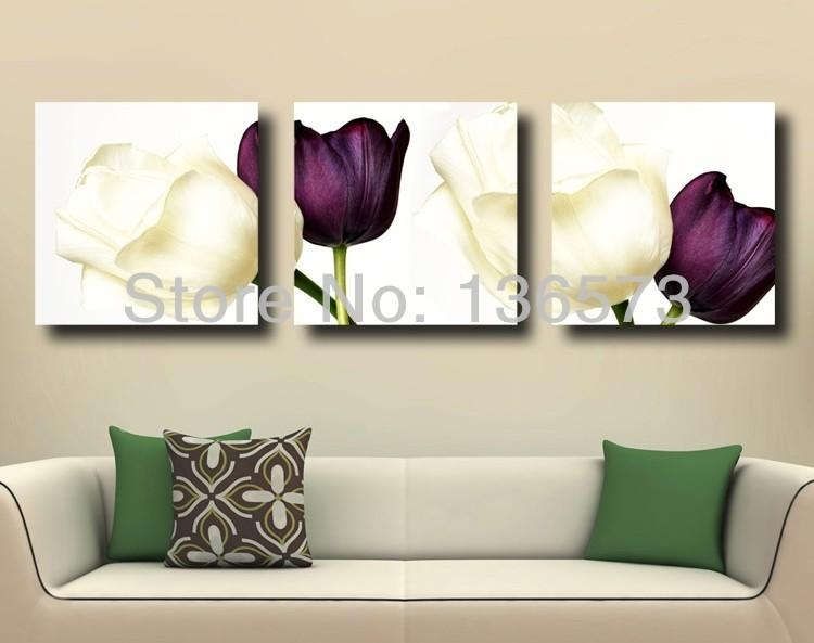 Hand Painted Modern Tulips Picture Oil Paintings 3 Piece Abstract With Plum Wall Art (Image 6 of 20)