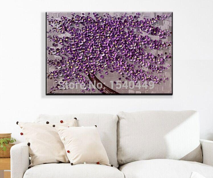 Hand Painted Palette Knife Painting Purple Flower Wall Art Home In Purple Wall Art Canvas (Image 9 of 20)