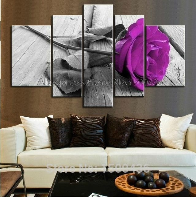 Hand Painted Purple Flower Rose Oil Painting Canvas Large Cheap 5 Within Cheap Big Wall Art (View 15 of 20)
