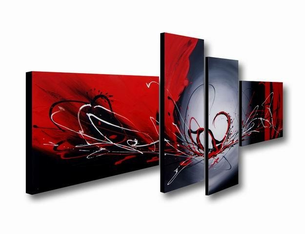 Hand Painted 'red Wing' 4 Piece Gallery Wrapped Canvas Art Set With Regard To 4 Piece Canvas Art Sets (Image 12 of 20)