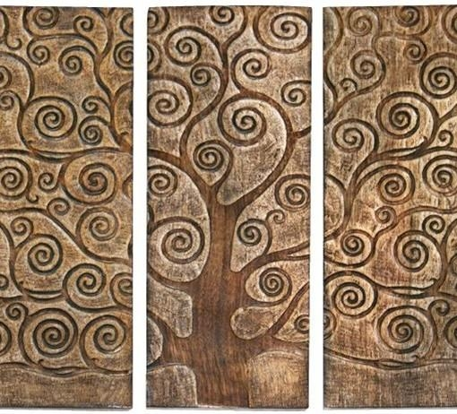Handcarved Tree Of Life Mango Wood Art – Set Of 3 Panels | Located Inside Wood Wall Art Panels (Image 6 of 20)