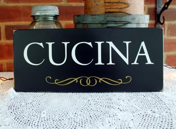 Handcrafted Cucina Wood Sign For An Italian Kitchen Wall Art With Regard To Cucina Wall Art (Image 10 of 20)