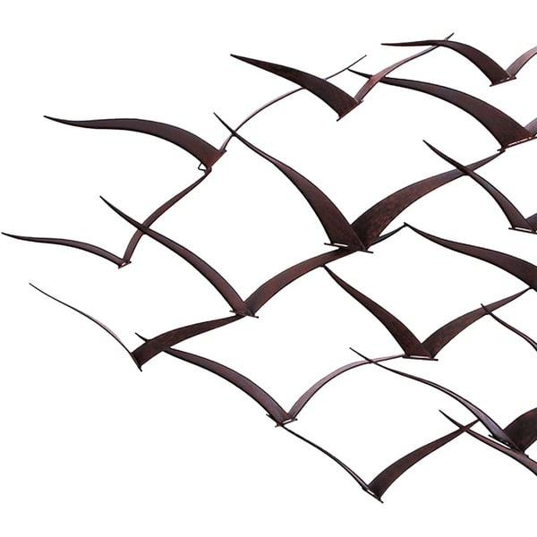 Handcrafted Flock Of Metal Flying Birds Wall Art – Free Shipping Intended For Metal Wall Art Flock Of Seagulls (Image 12 of 20)