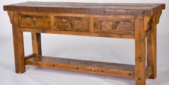 Handmade Barnwood Sofa Table, Salvaged Wood Sofa Table Pertaining To Barnwood Sofa Tables (View 13 of 20)