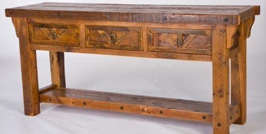 Handmade Barnwood Sofa Table, Salvaged Wood Sofa Table Pertaining To Barnwood Sofa Tables (Image 15 of 20)