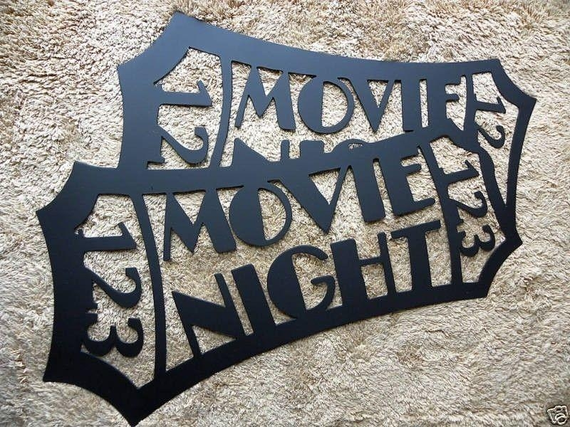 "Handmade Home Theater Decor Movie Ticket Black 24"" Metal Wall Art Throughout Home Theater Wall Art (Image 14 of 20)"