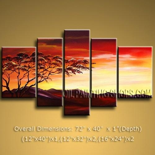 Handmade Huge Multiple Panels Art Paintings On Canvas Contemporary Pertaining To Multiple Canvas Wall Art (Image 11 of 20)