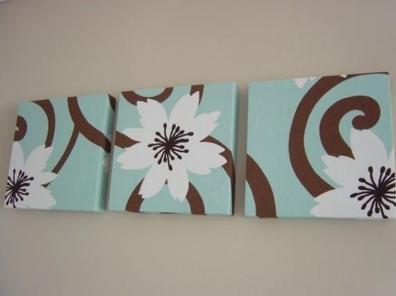 Handmade Set Of 3 Contemporary Flower Duck Egg Blue Chocolate Pertaining To Matching Canvas Wall Art (Image 4 of 20)