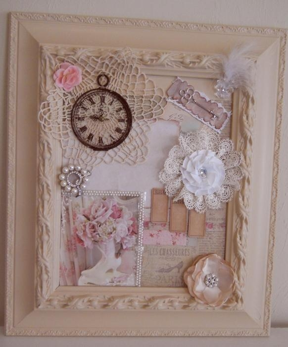 Handmade Shabby Chic Frame Collage Cottage Chic Mixed Media Wall Pertaining To Shabby Chic Wall Art (Image 9 of 20)