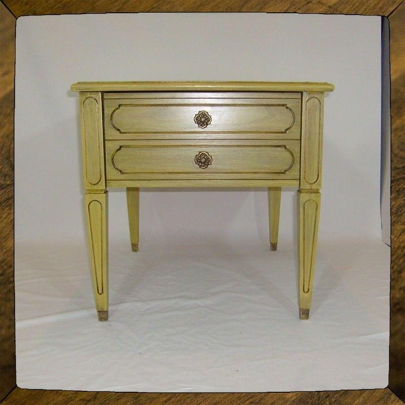 Handmade Shabby Chic Yellow Side Table End Table Cottage Table With Shabby Chic Sofa Tables (Image 10 of 20)