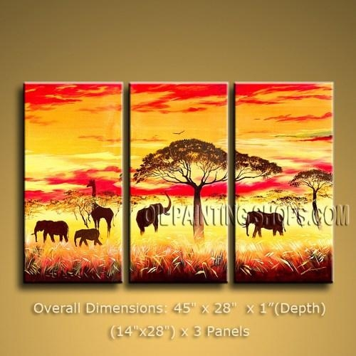 Handmade Tri Panel Canvas Wall Art Contemporary Africa Landscape With Regard To Canvas Landscape Wall Art (View 8 of 20)