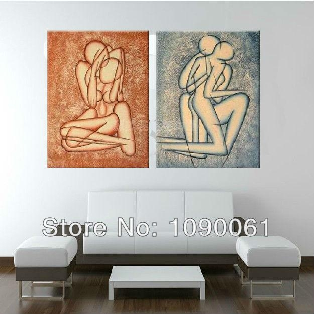 Handpainted 2 Piece Abstract Nude Lovers Oil Paintings On Canvas In Unique Modern Wall Art (View 7 of 20)