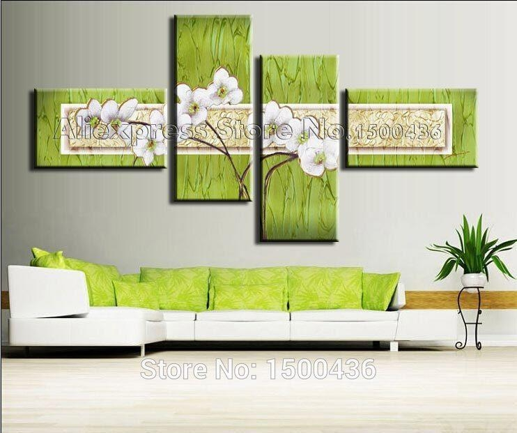 Handpainted Modern Flowers Wall Paintings On Canvas Oil Wall Art Regarding Green Canvas Wall Art (Image 15 of 20)