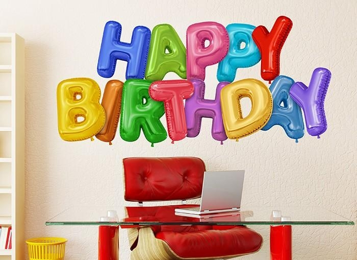 Happy Birthday Balloon Wall Decal With Happy Birthday Wall Art (Image 11 of 20)