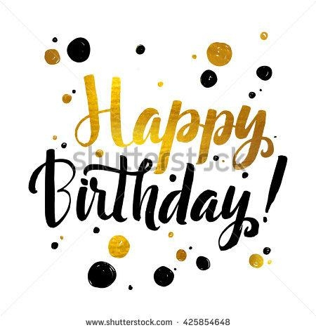 Happy Birthday Gold Foil Calligraphic Message Stock Vector Pertaining To Happy Birthday Wall Art (Image 12 of 20)