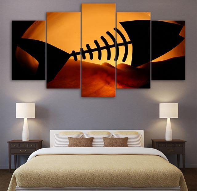Hd Printed 5 Piece Canvas Prints Sunset Desert Fish Bone Room Intended For Fish Bone Wall Art (Image 14 of 20)