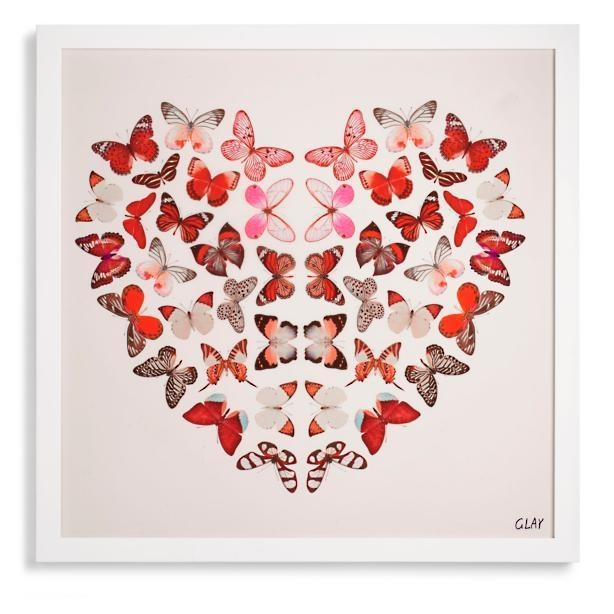 Heart Effect Artwork With Butterfly Canvas Wall Art (Image 14 of 20)