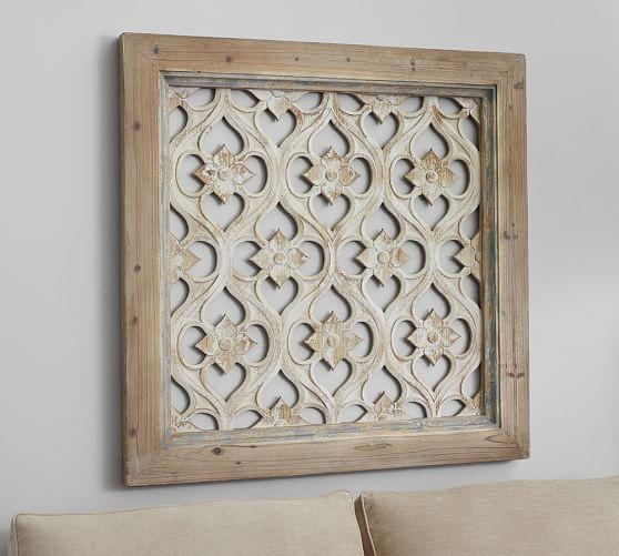 Hempstead Carved Wood Wall Art Panel | Pottery Barn For Wood Panel Wall Art (Image 6 of 20)