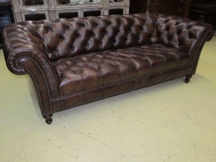Henredon Leather Company Button Tufted Brown Hand Rubbed Leather In Brown Leather Tufted Sofas (Image 9 of 20)