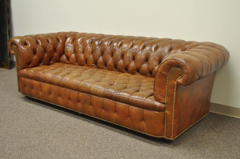 Henredon Rolled Arm English Style Button Tufted Brown Leather Intended For Brown Leather Tufted Sofas (Image 10 of 20)