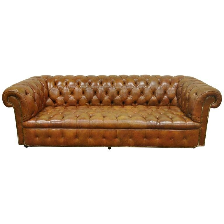 Henredon Rolled Arm English Style Button Tufted Brown Leather Throughout Brown Leather Tufted Sofas (Image 11 of 20)