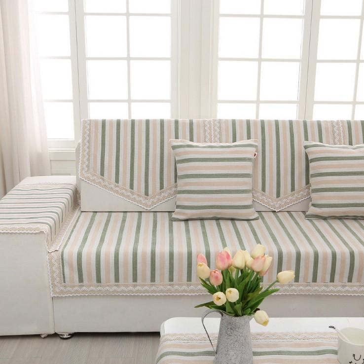 High Quality Stripe Sofa Cover Couch Cover Cape Thick Cotton In Striped Sofa Slipcovers (Photo 13 of 20)