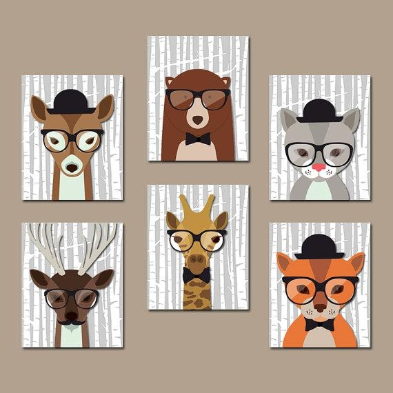 Hipster Woodland Animals Wall Art Baby Boy Nursery Canvas Or In Animal Wall Art (Image 16 of 20)